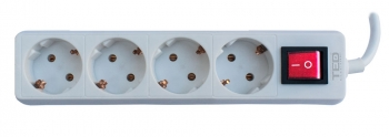 4 Outlet Power Strip with Lighting Switch