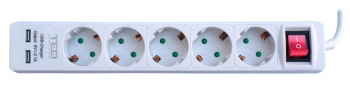 5 Outlet Power Strip with Lighting Switch & USB Charger