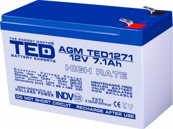 AGM Battery TED1271HRF2 12V 7.1Ah High Rate