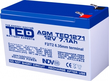 AGM Battery TED1271F2 12V 7.1Ah
