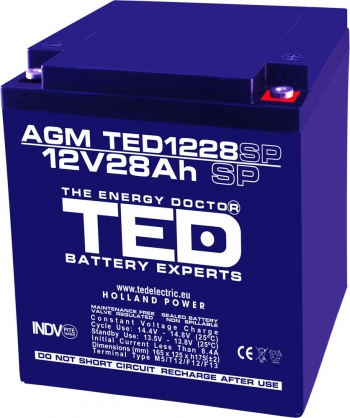 AGM Battery TED1228M5SP 12V 28Ah special size