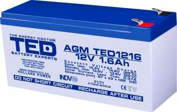 AGM Battery TED1216F1 12V 1.6Ah