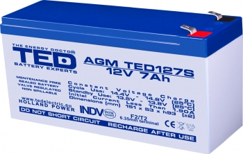 AGM Battery TED127SF2 12V 7Ah special size