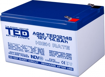 AGM Battery TED12145HRF2 12V 14.5Ah High Rate