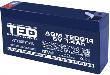 AGM Battery TED614F1 6V 1.4Ah