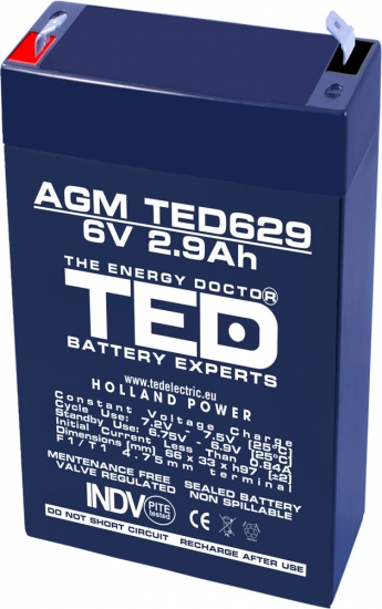 AGM Battery TED629F1 6V 2.9Ah