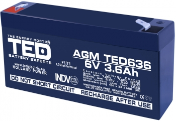 AGM Battery TED636F1 6V 3.6Ah