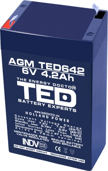 AGM Battery TED642F1 6V 4.2Ah