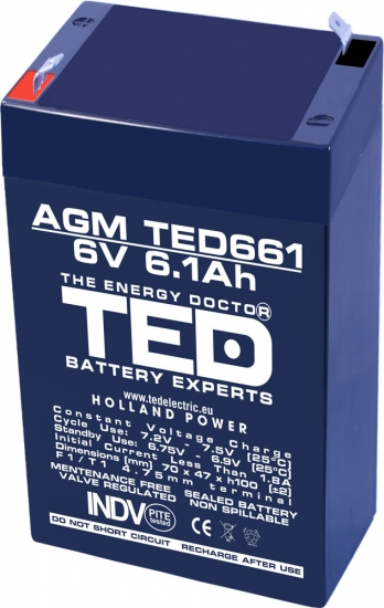 AGM Battery TED661F1 6V 6.1Ah