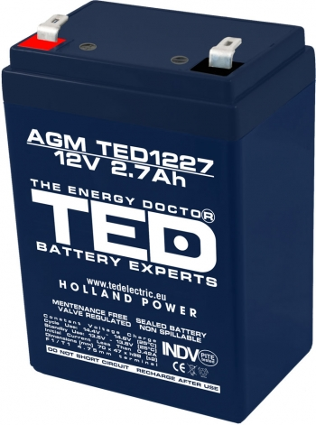 AGM Battery TED1227F1 12V 2.7Ah