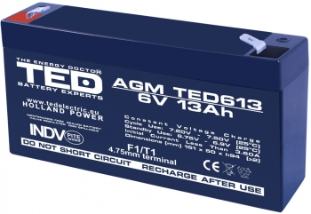 AGM Battery TED613F1 6V 13Ah