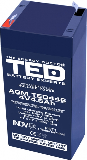 AGM Battery TED446F1 4V 4.6Ah