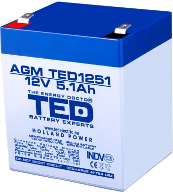 AGM Battery TED1251F2 12V 5.1Ah