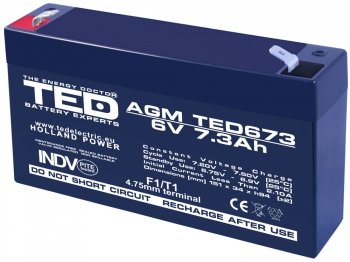 AGM Battery TED673F1 6V 7.3Ah