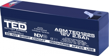 AGM Battery TED1225F1 12V 2.5Ah