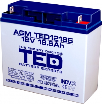 AGM Battery TED12185T3 12V 18.5Ah